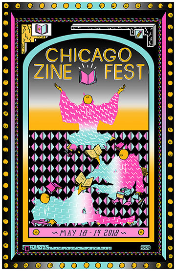 CZF 2018 poster with date May 18-19 2018, featuring bright neon pink and blue figures